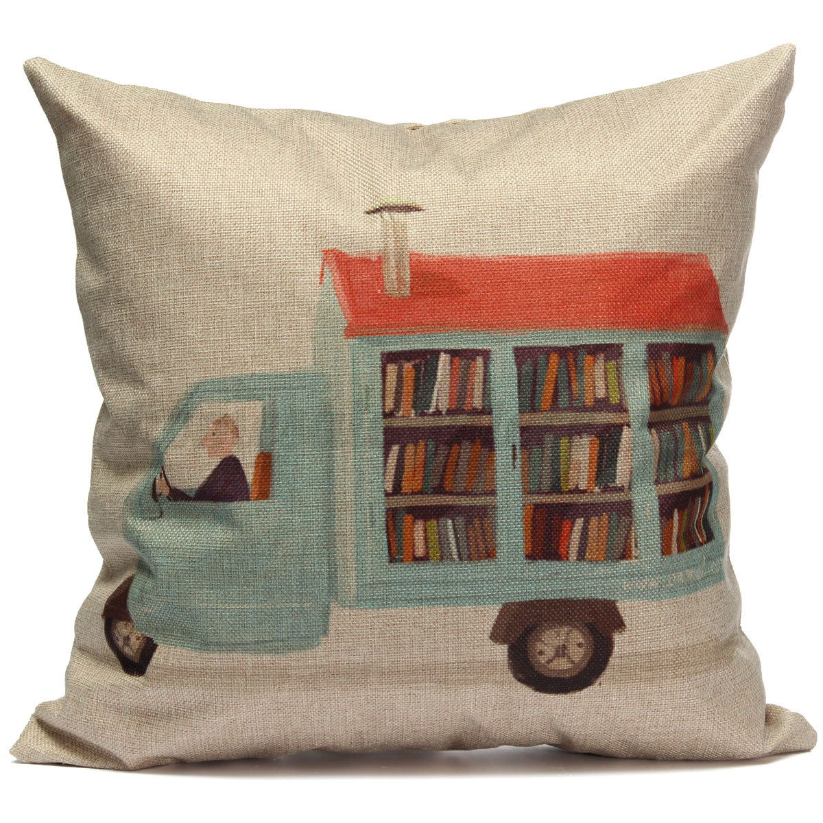 Vintage Square Linen Cotton Throw Pillow Case Cushion