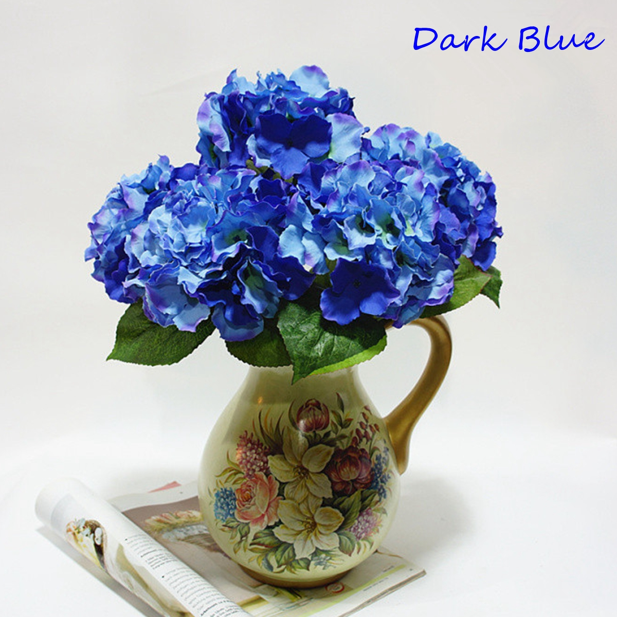 Blue Hydrangea Wedding Flowers: Dark Blue Artificial Hydrangea 5 Flower Heads Bouquet