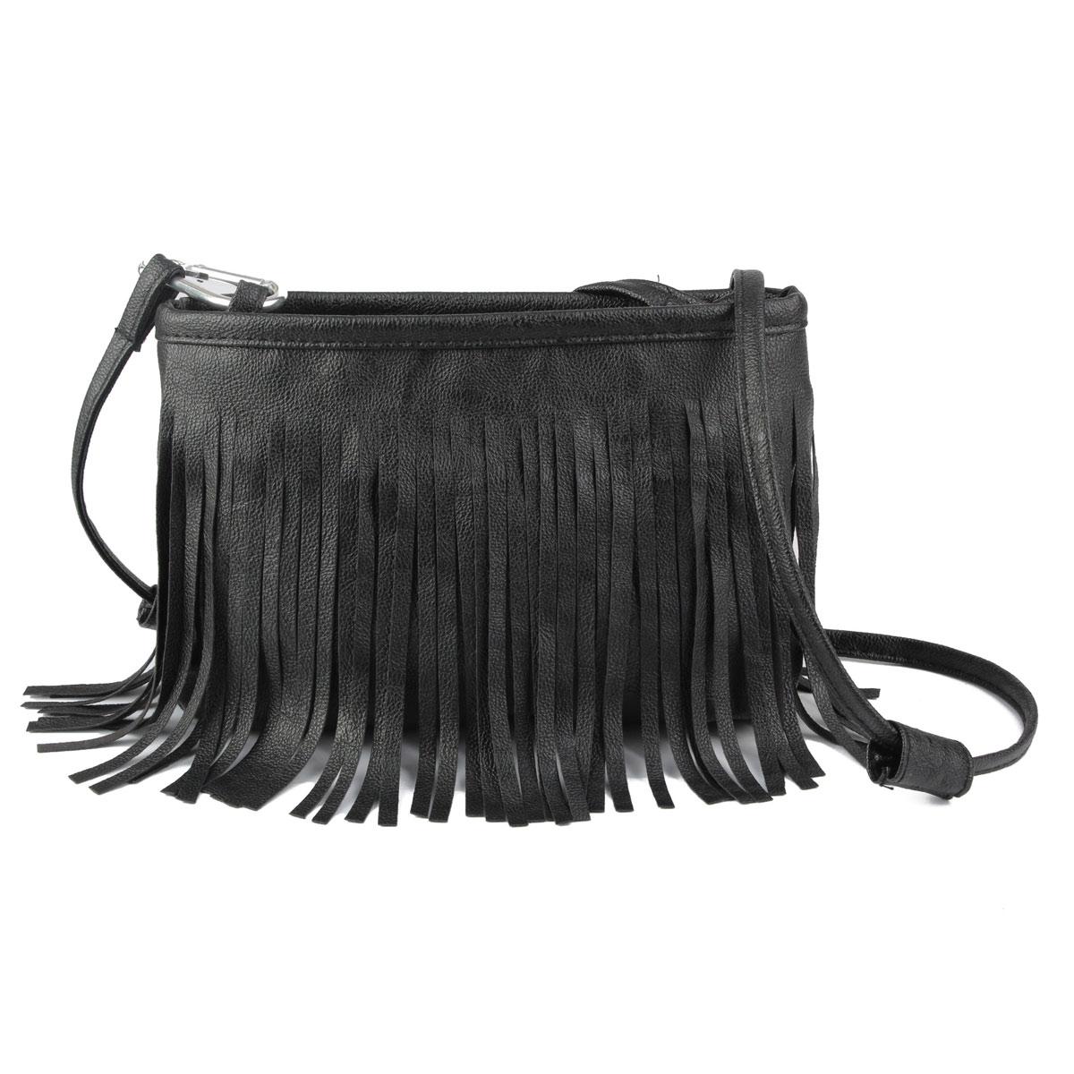 suede tassle fringe leather shoulder messenger