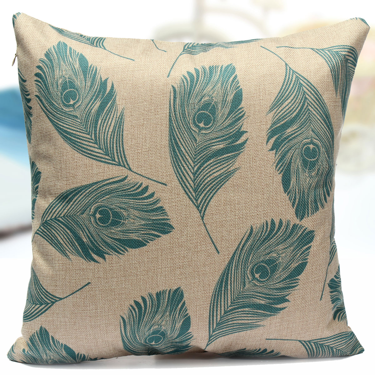 Cotton Linen Feather Throw Pillow Case Leaves Sofa Cushion Cover Home Decor eBay