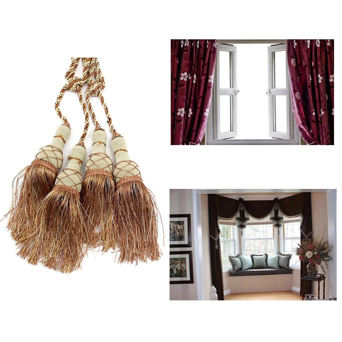 1 paire attache embrasse draperie rideau pompon frang pour maison fen tre decor ebay. Black Bedroom Furniture Sets. Home Design Ideas