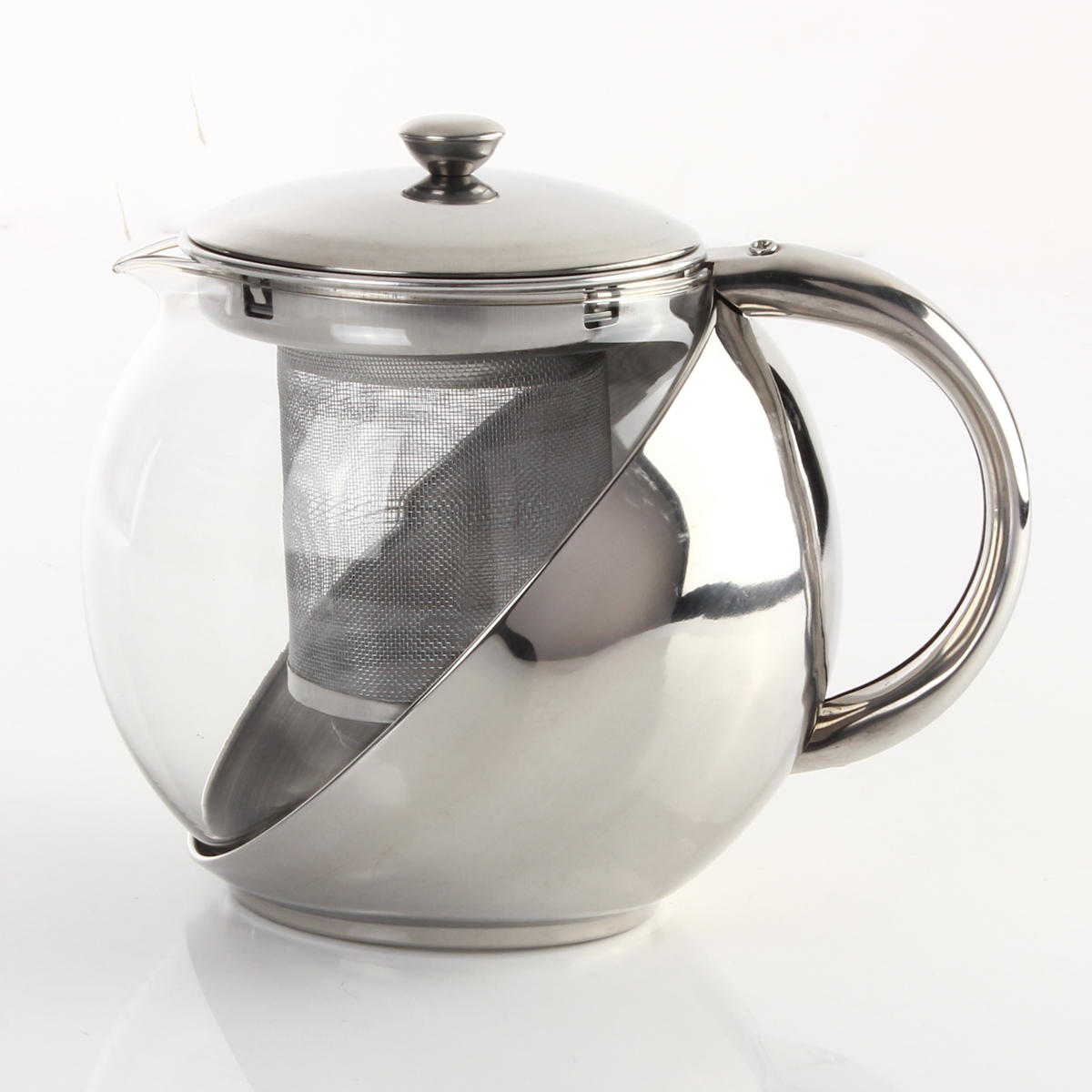 Ml stainless steel glass teapot with tea leaf strainer