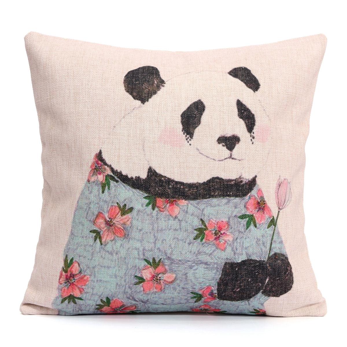 Cotten Linen Panda Animal Cushion Cover Soft Seat Throw Pillow Case Home Decor eBay