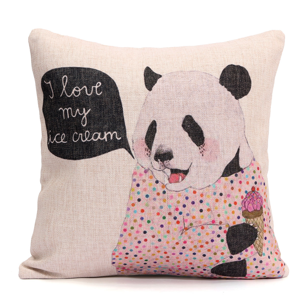 Cotten Linen Panda Animal Cushion Cover Soft Seat Throw Pillow Case Home Decor