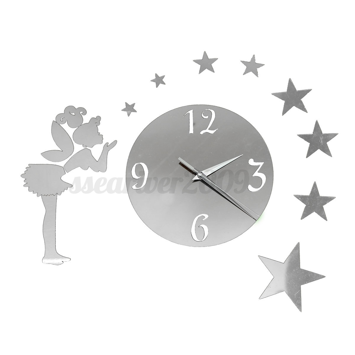 Mirror art 3d fairy stars wall clocks acrylic sticker for 3d acrylic mirror wall sticker clock decoration decor