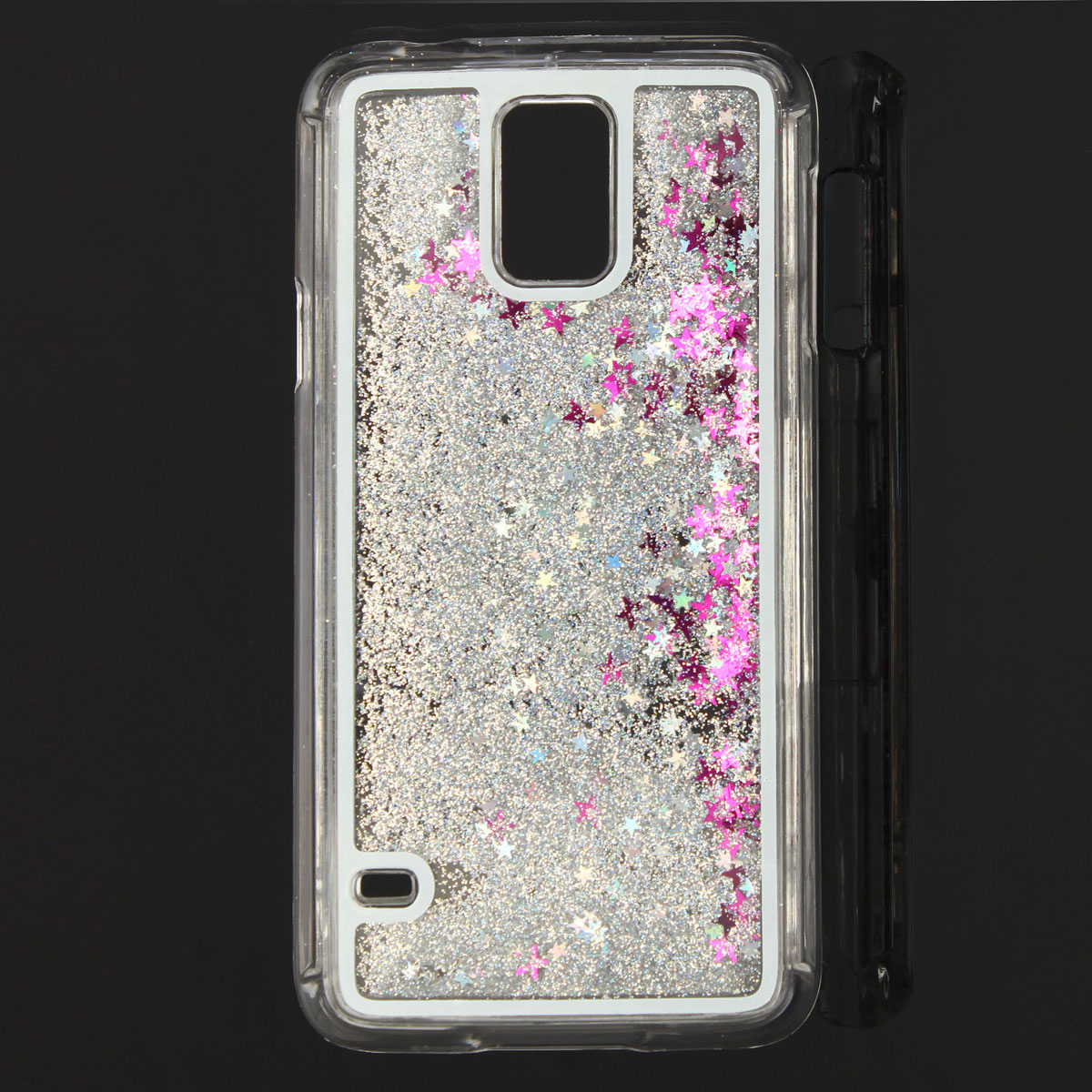 GLITTER LIQUIDO Custodia Cover TRASPARENT Hard Back PER Samsung Galaxy S5