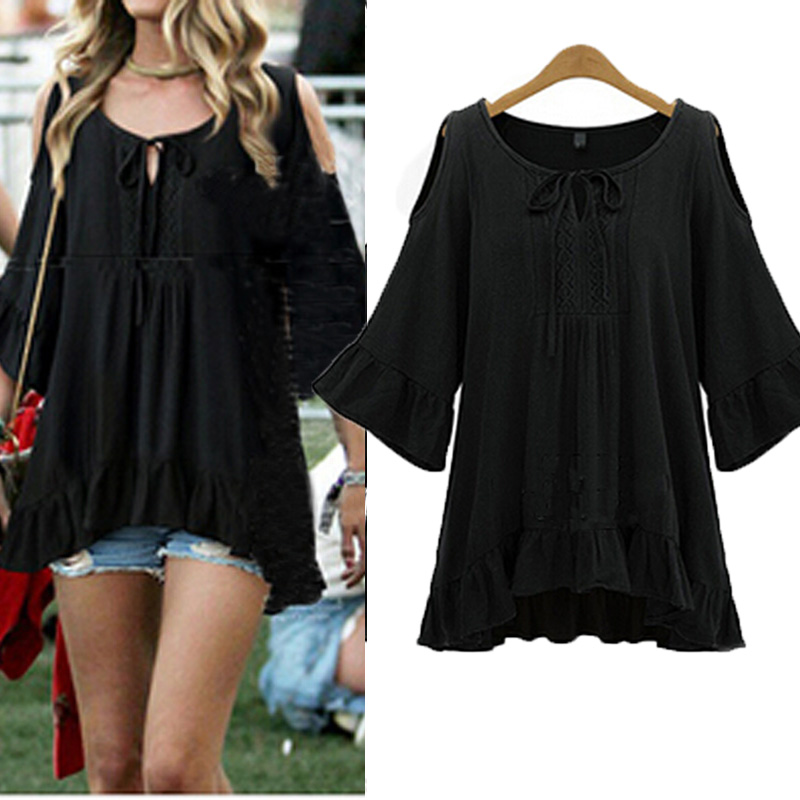 2015 Women Fahion Off Shoulder Loose Half Sleeve Casual Tops Blouse Mini Dress