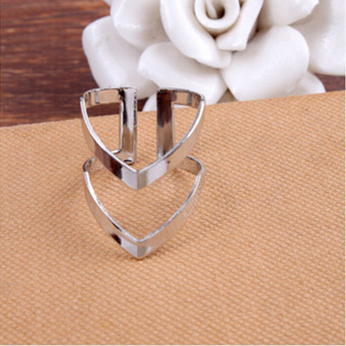 Fashion Women Double V Alloy Plated Gold&Silver Adjustable Finger Ring Jewelry