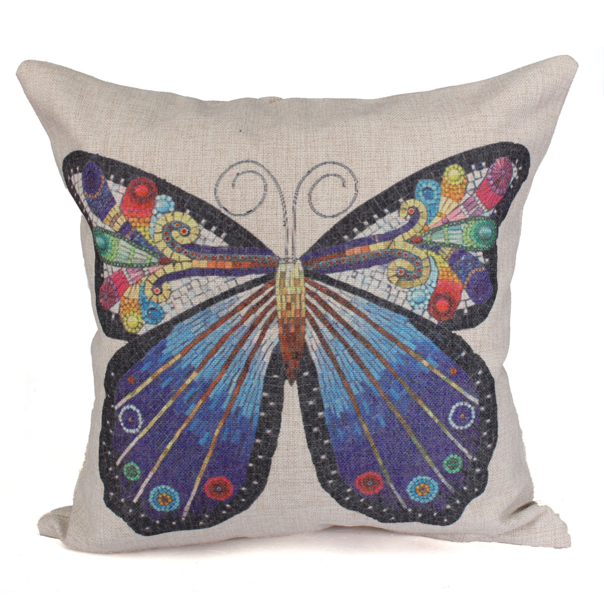 Throw Pillows With Butterfly : Butterfly Flower Classic Cotton Linen Cushion Cover Throw Pillow Case Home Decor eBay