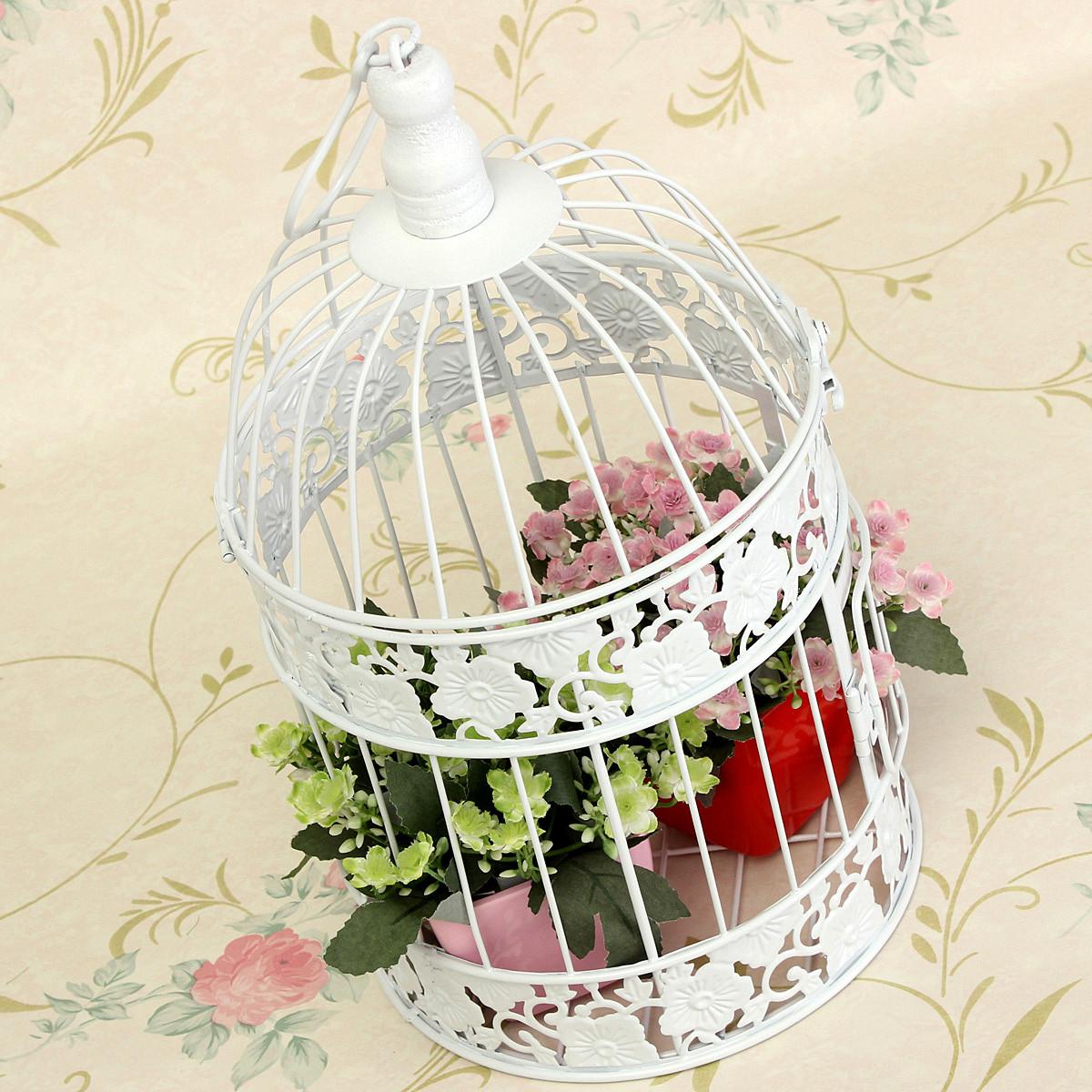 Decorative white bird cage home table centerpiece wedding
