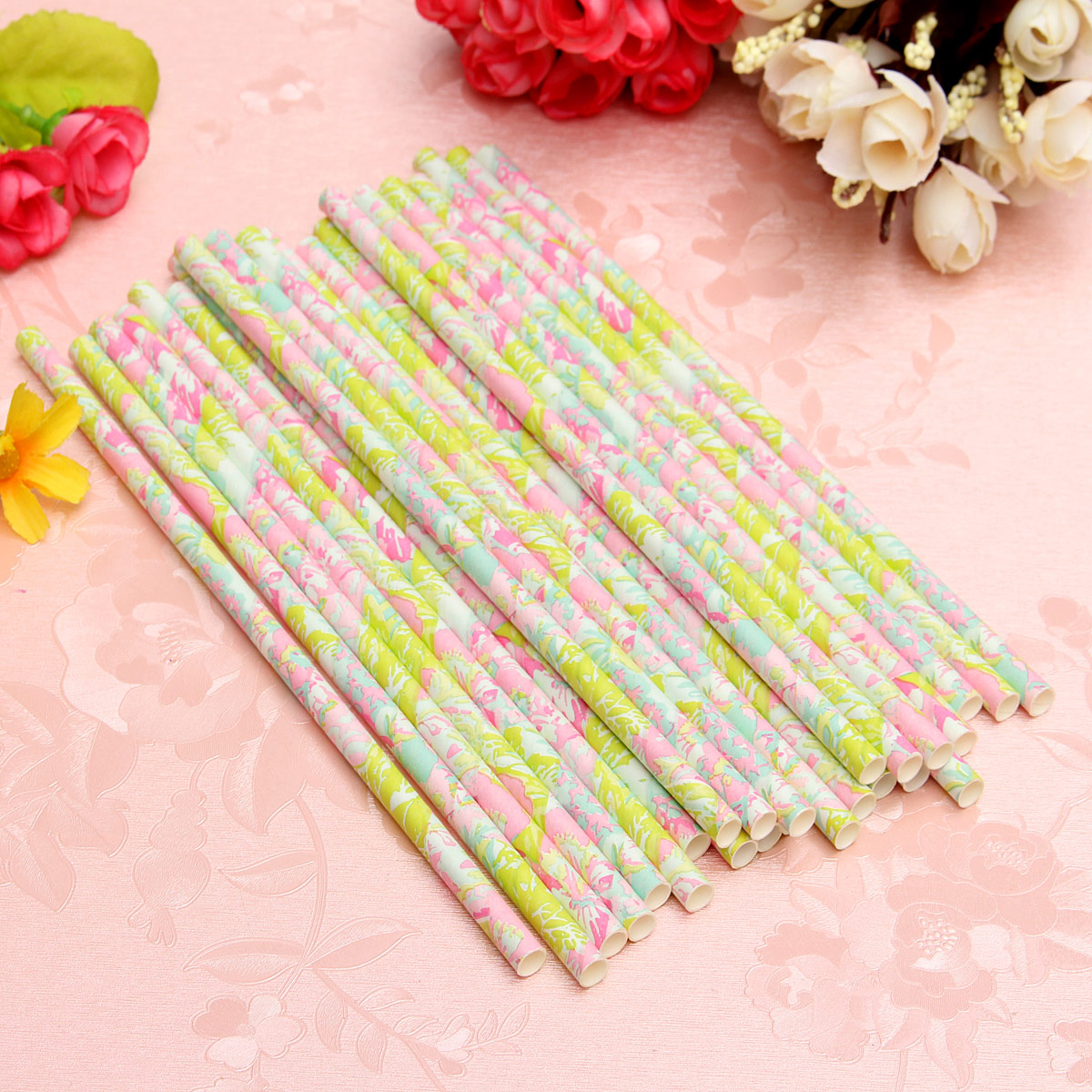 25Pcs Vintage Retro Paper Flower Floral Drinking Straws Birthday Wedding Party