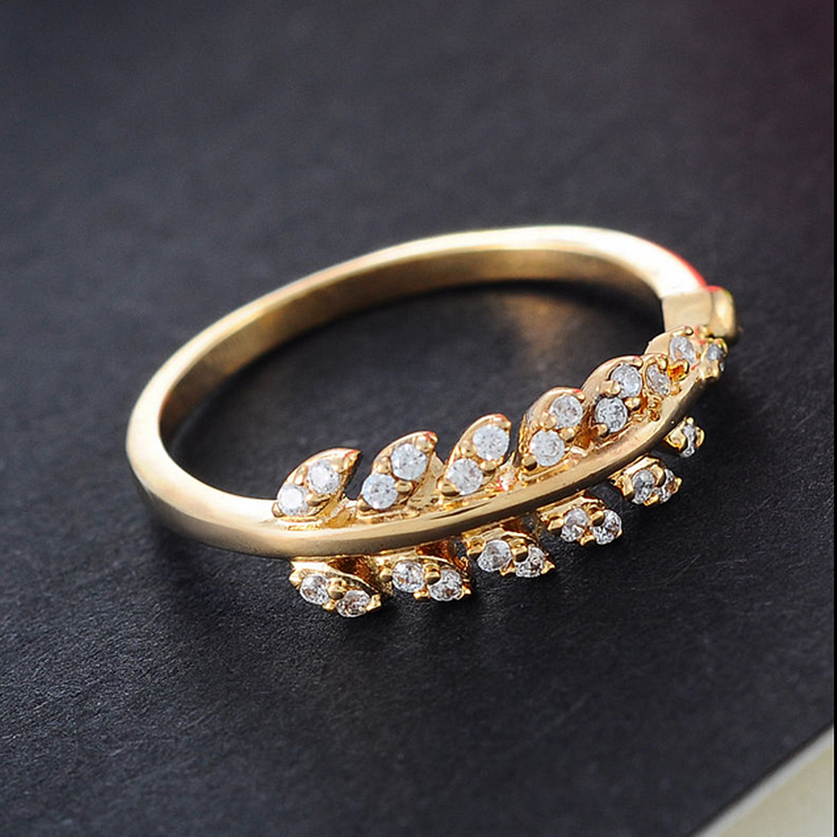 ladies collections rings sided gold grande solid ring zirconia band white size lady img both
