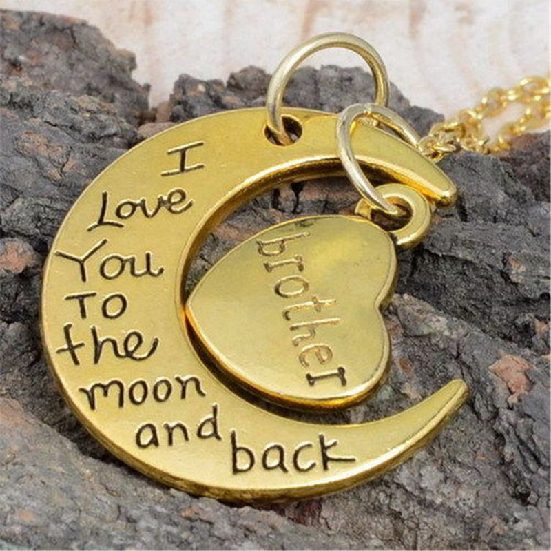 """Gold Family I LOVE YOU TO THE MOON AND BACK """"Necklace ..."""