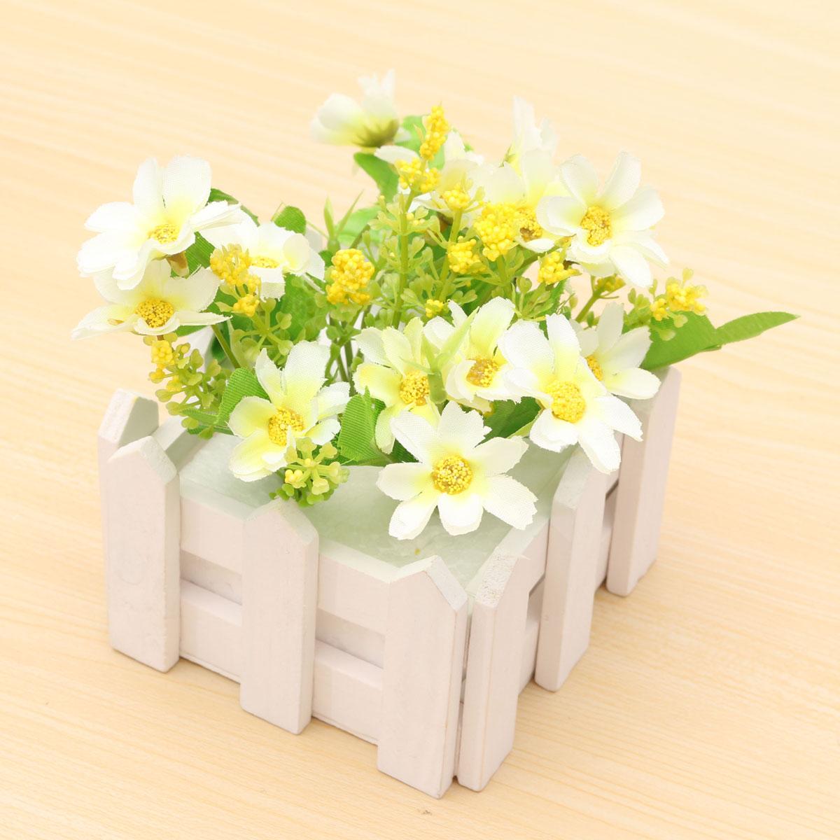 Artificial flowers indoor outdoor potted plants wooden fence floral garden ebay - Indoor potted flowers ...