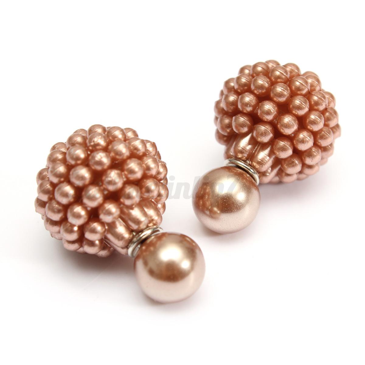 femme fille boucles d 39 oreilles double perles boule cristal strass bijoux cadeau ebay. Black Bedroom Furniture Sets. Home Design Ideas