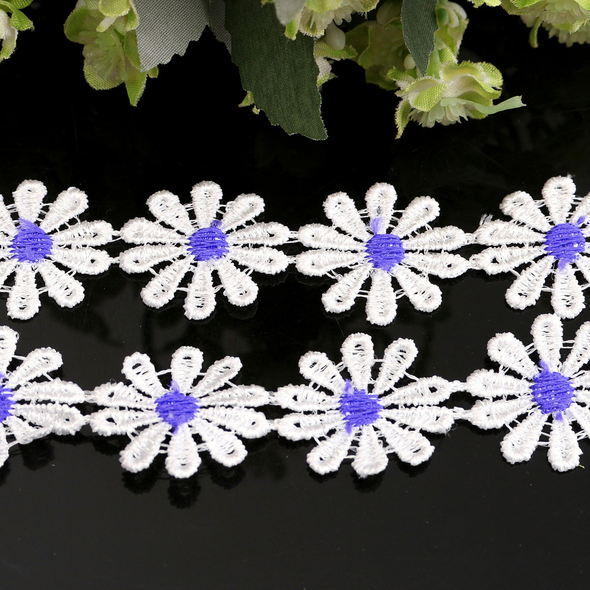 Fabric Flower Trim: 1 Yard White Flower Embroidered Lace Trim Fabric Sewing