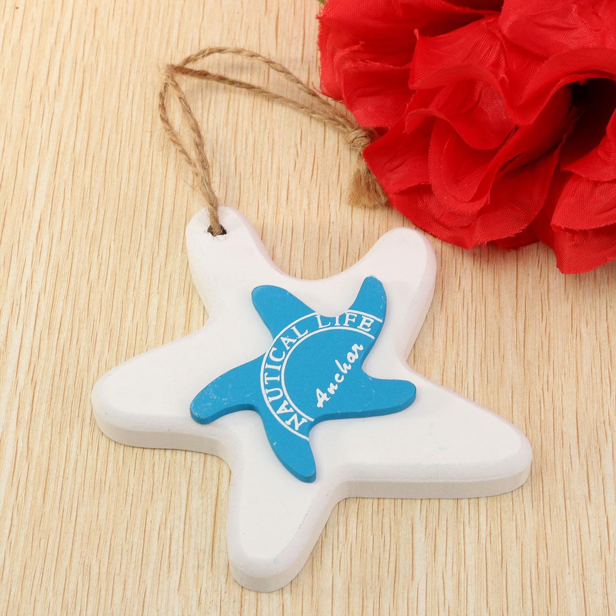 Nautical Wooden Fish Starfish Wall Hanging Ornaments Home Door Decor Hanger Gift