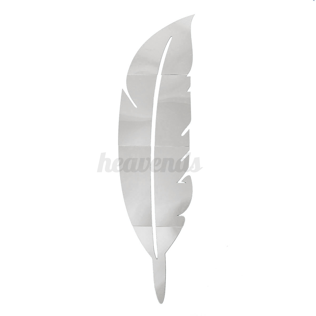 Wandtattoo wandaufkleber wand spiegel sticker feder deisgn for Dekoration wohnzimmerwand