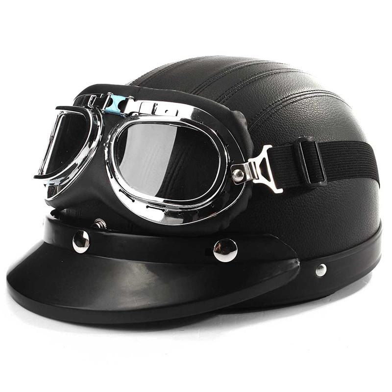 ece demi casque cuir ouvert visage moto scooter bol lunettes visi re echarpe ebay. Black Bedroom Furniture Sets. Home Design Ideas