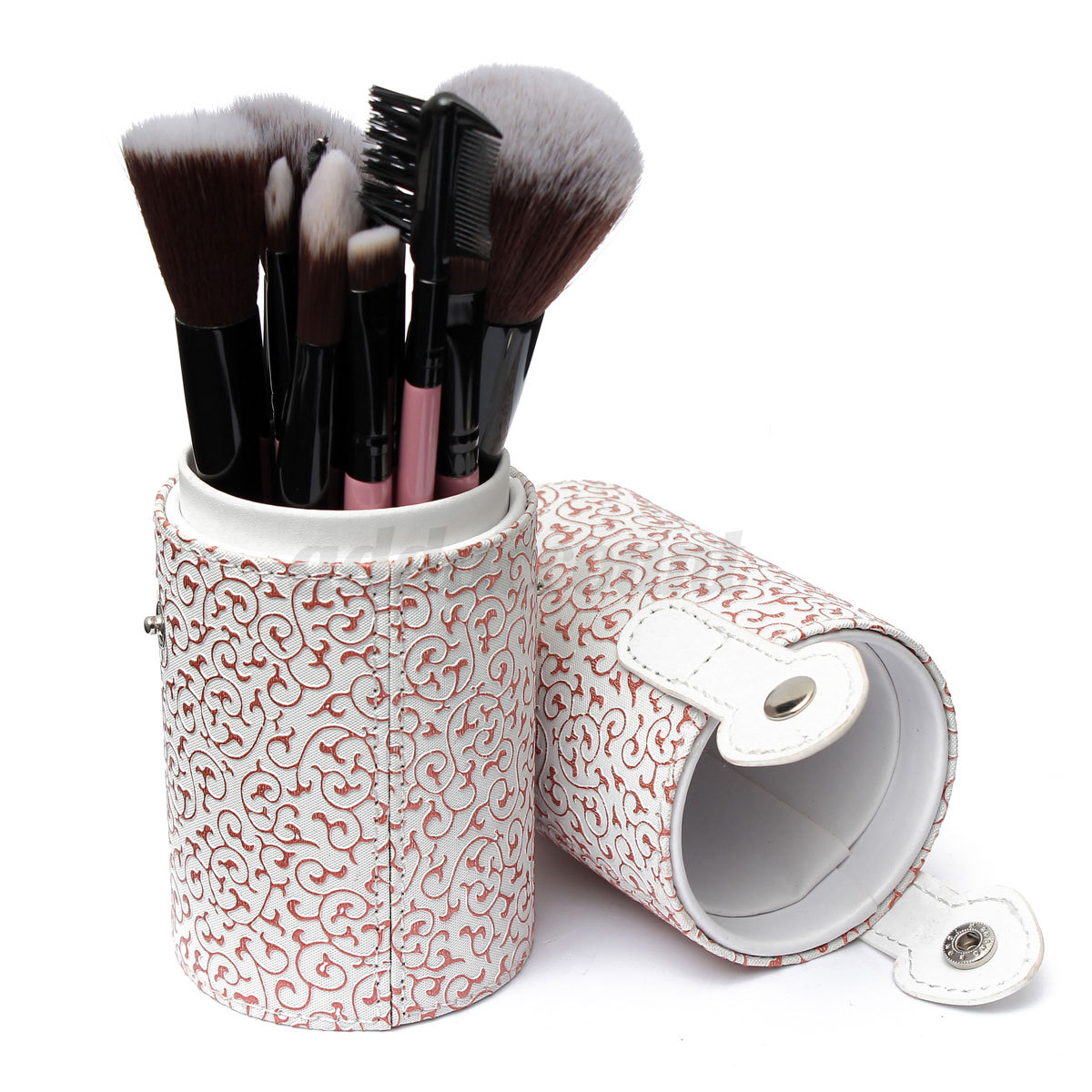 Floral Cosmetic Makeup Brushes Brush Set Tool Kit Leather Cup Holder Case Bag | EBay