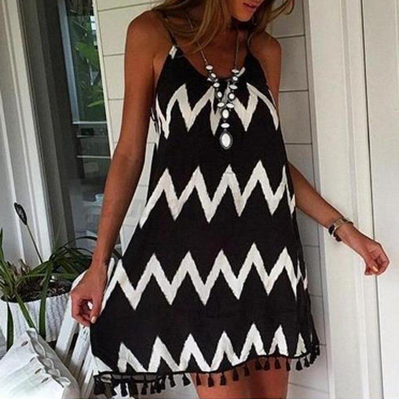 2016 Bohemian Vintage Low Cut Striped Chiffon Sling Vest Tassel Swing Mini Dress