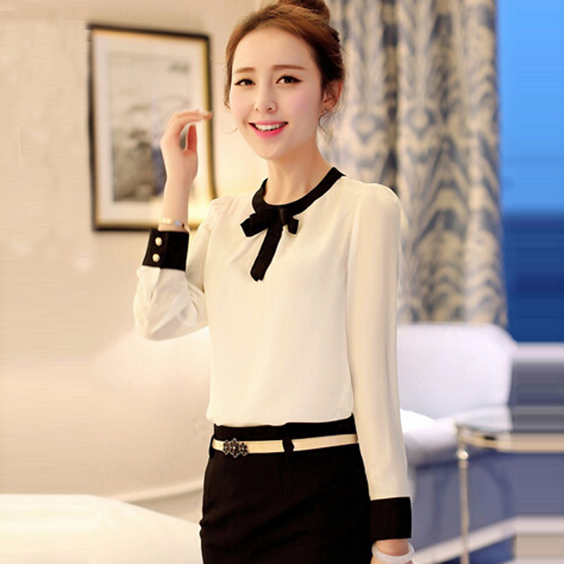New Ladies Chiffon Casual Fashion Women's Long Sleeve Shirts Elegant Tops Blouse
