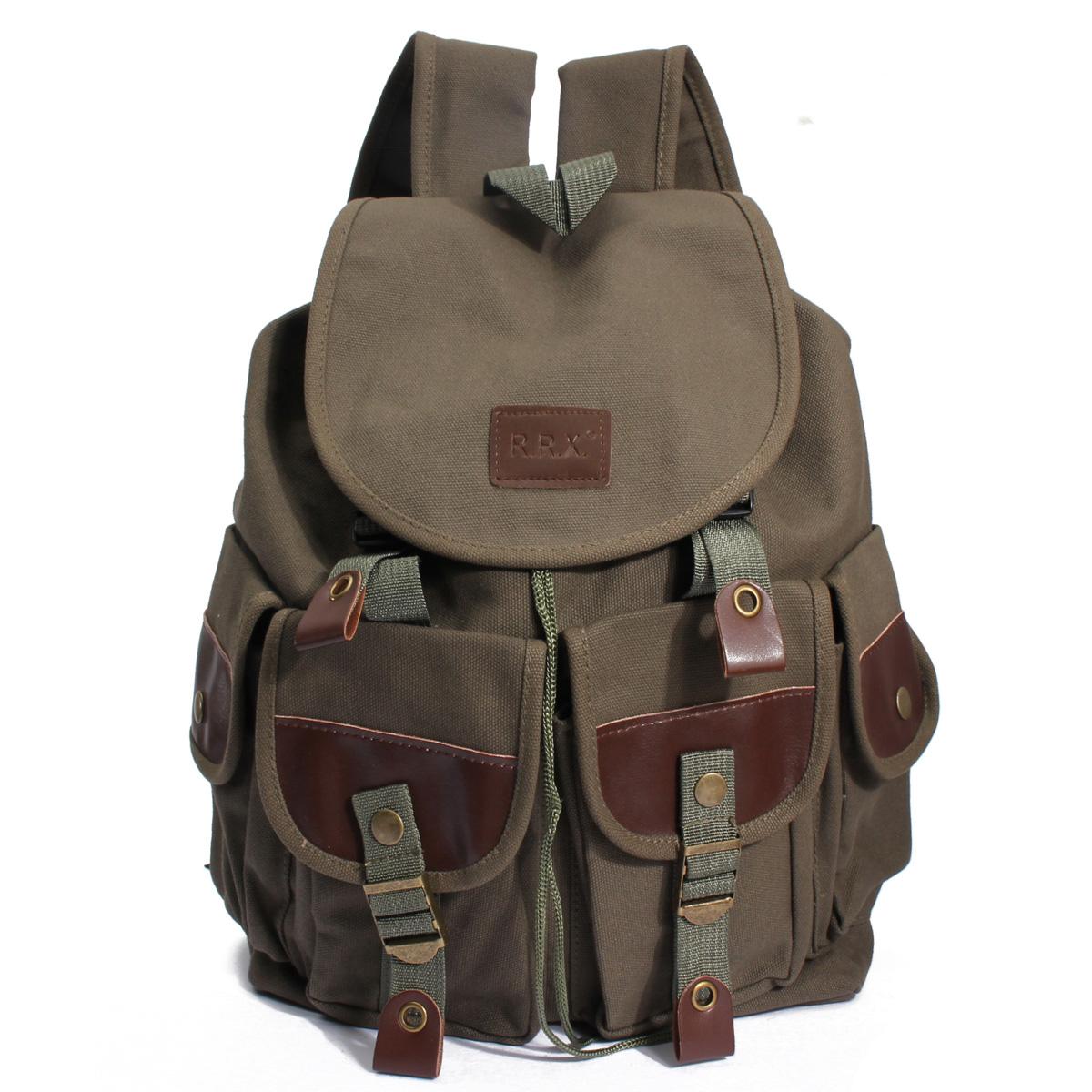 New Men Women Canvas Backpack Travel Camping School Satchel Military Hiking Bag