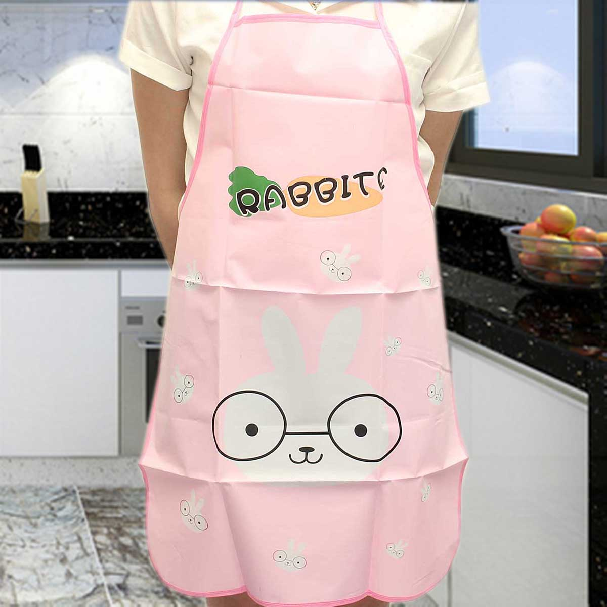Cartoon Waterproof Women Front Kitchen Apron Dress Restaurant Home Cooking Bib