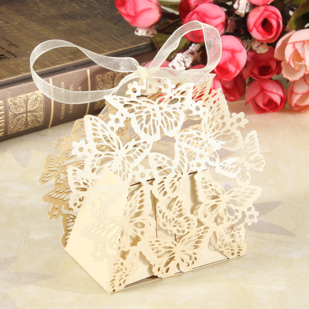 50 Butterfly Wedding Bridal Party Candy Favor Boxes Bonbonniere Gift With Ribbon