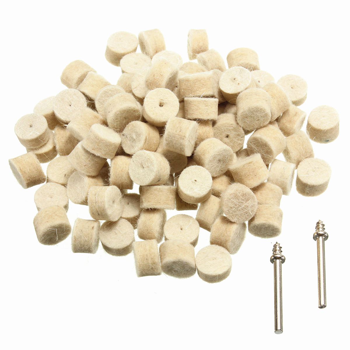 100Pcs 13mm/25mm Wool Felt Polishing Buffing Round Wheel with 2 Shank For Dremel