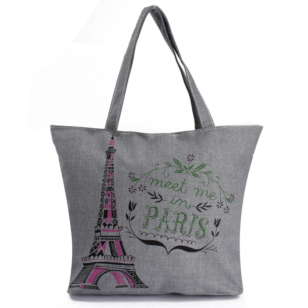 Fashion Women Lady Canvas Cute Handbag Shoulder Beach Bag Shopping Tote Zipper