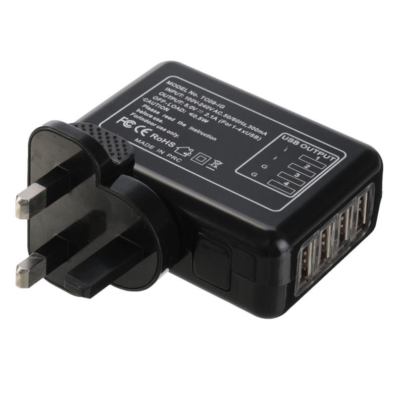5v portable 4 ports usb prise chargeur multi adaptateur secteur eu uk us au noir ebay - Multi chargeur usb ...