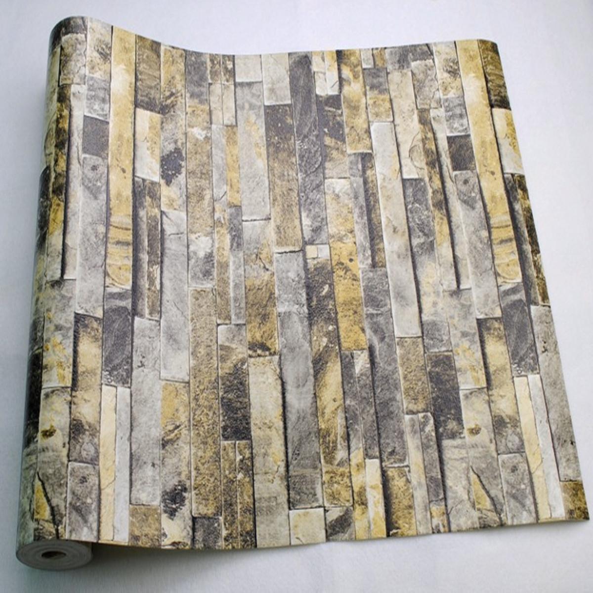 10x0 53m 3d vintage naturel relief pierre brique tuile - Papier peint brique relief ...