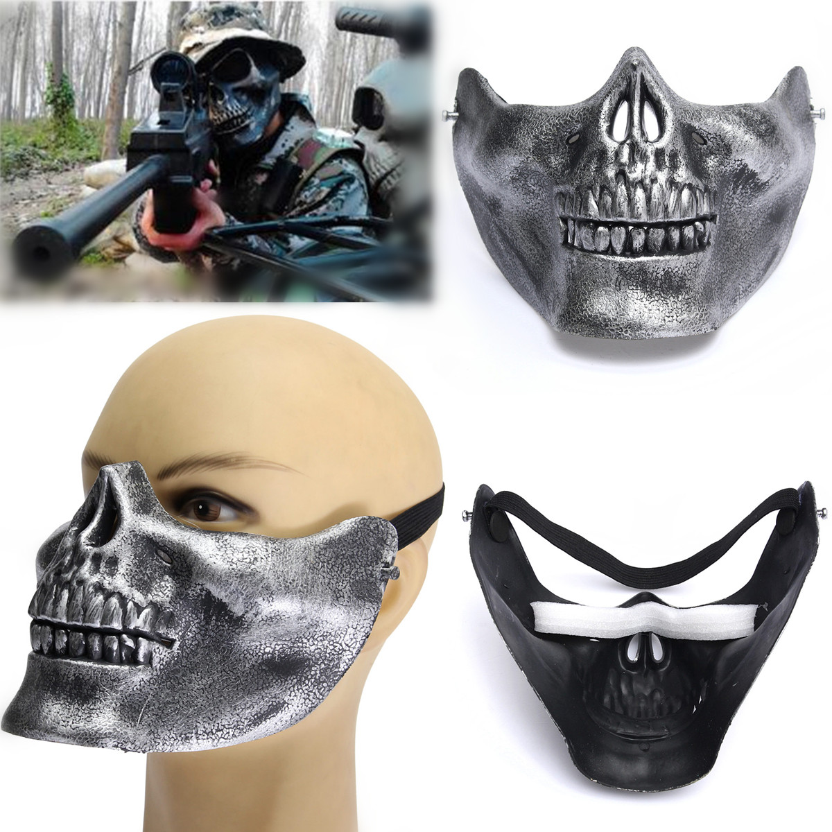 New Costume Halloween Airsoft Skull Mask Motorcycle ...