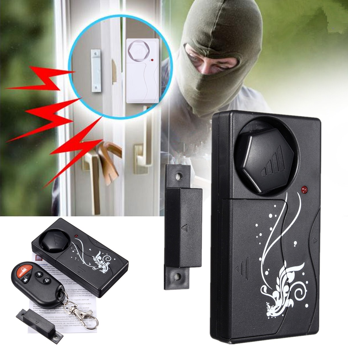 wireless fensteralarm t ralarm fernbedienung alarmanlage. Black Bedroom Furniture Sets. Home Design Ideas