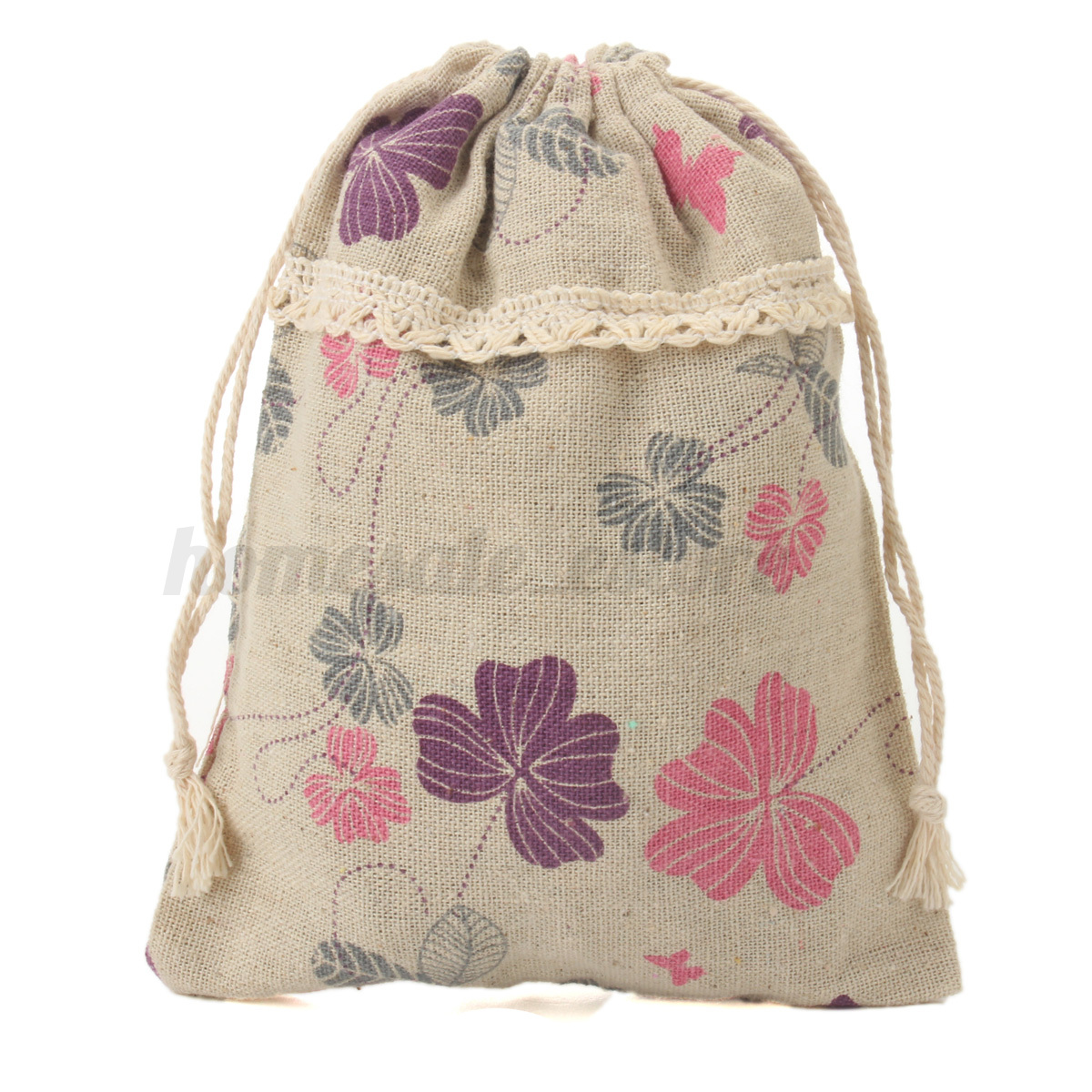 Diy printed cotton linen handmade linen drawstring tote for Drawstring jewelry bag pattern