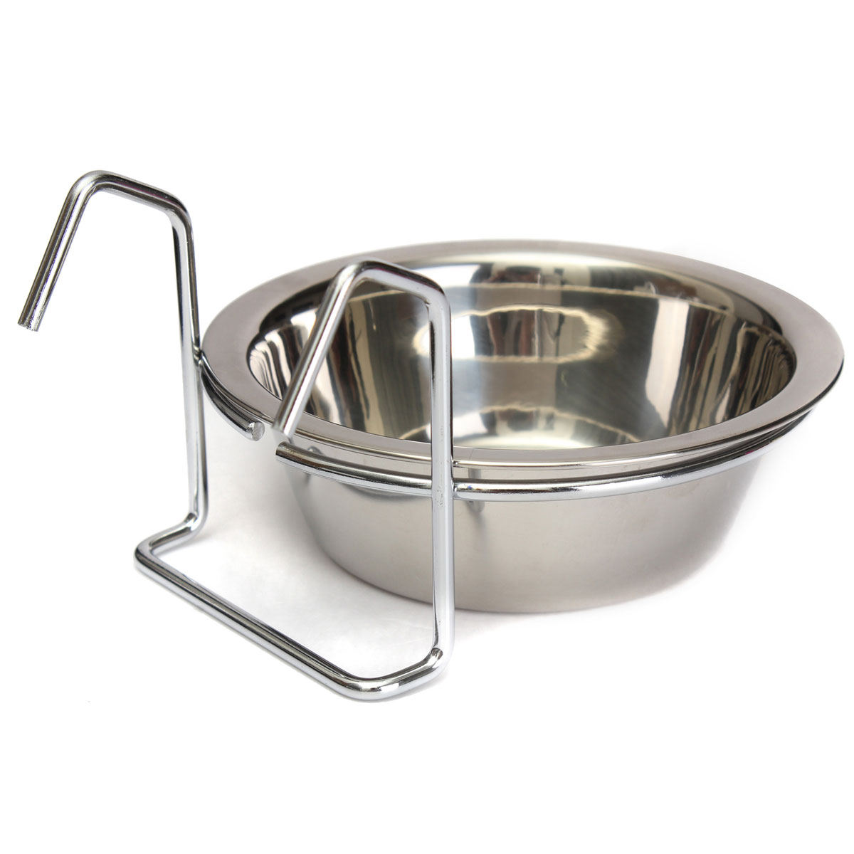 Stainless Cage Coop Cup Pet Bird Cat Dog Puppy Piggy Pig Food Water Bowl Hanger