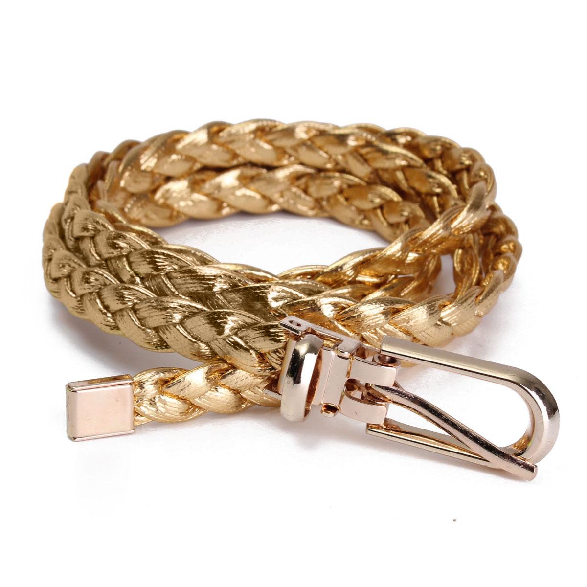 Women Simple Braided PU Leather Narrow Thin Buckle Strap Waist Belt Waistband UK