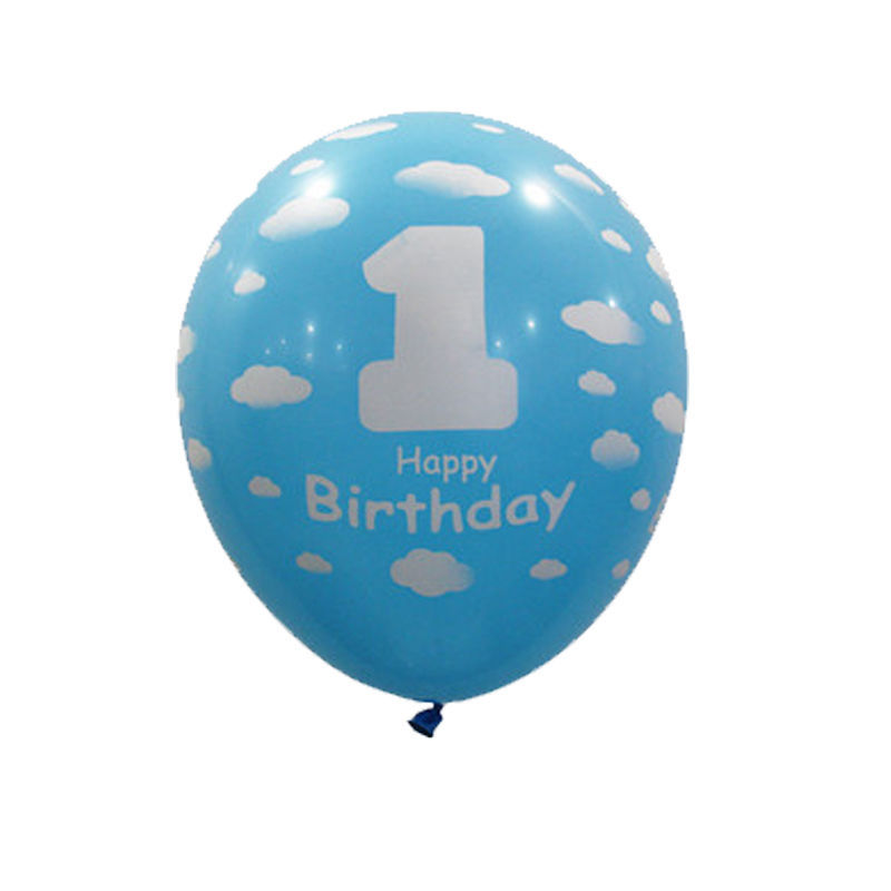1/20Pcs Baby 1st First Birthday Party Decor Girl Boy Printed Number Ballons 12''