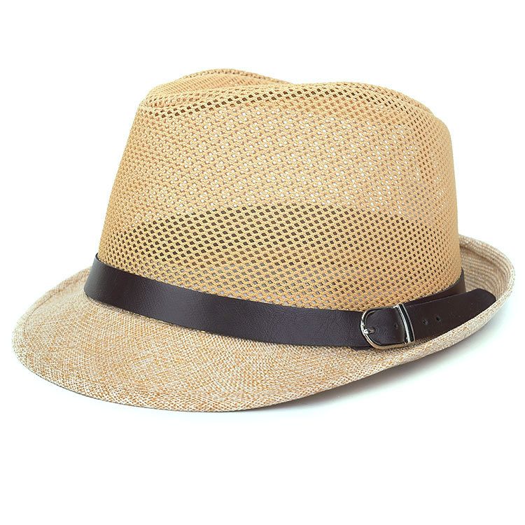 nl hollow out packable mesh straw panama hat