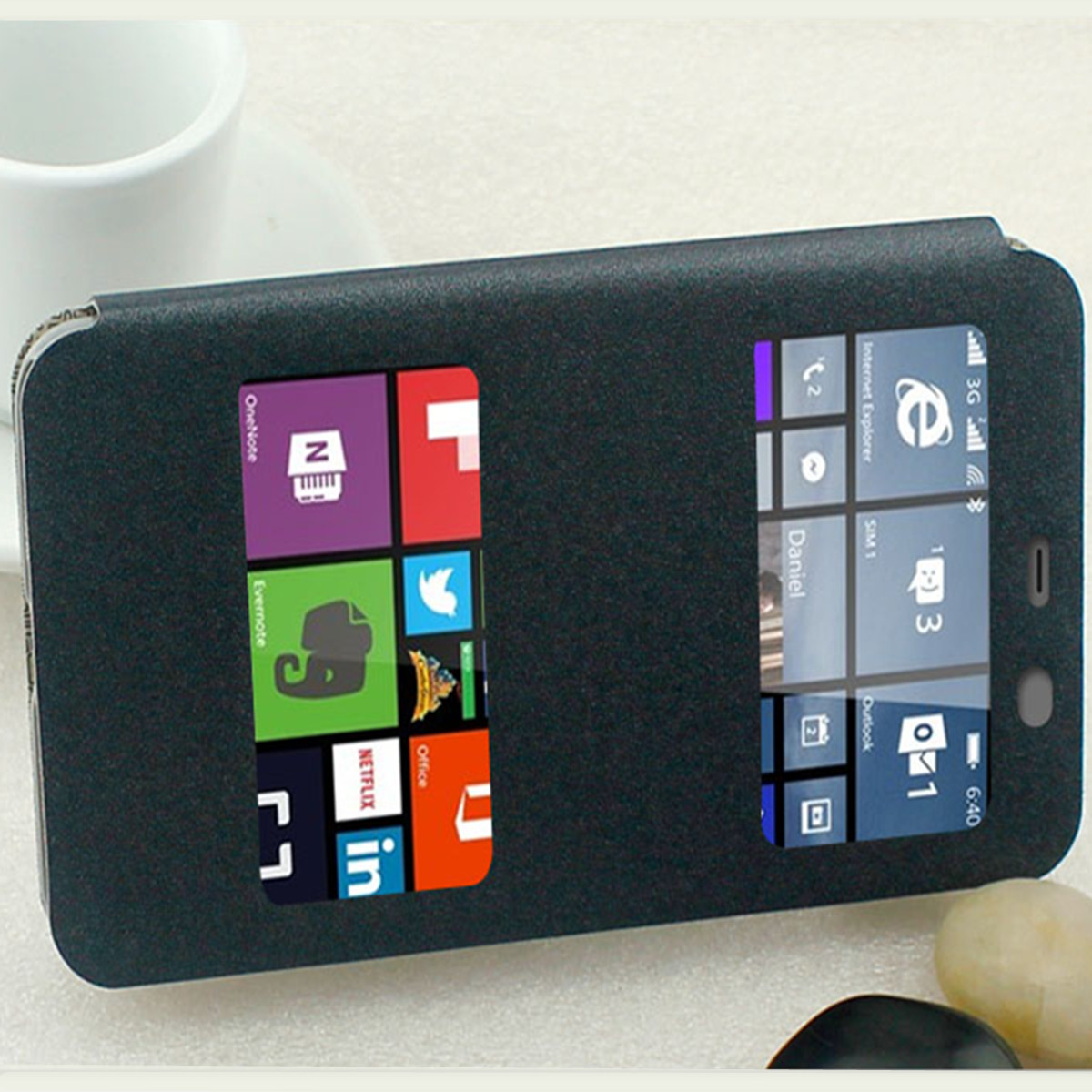 Dual Window Flip Leather Case PC Hard Cover Stand For Microsoft Lumia 640/ 640XL