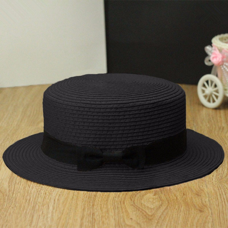Fashion Women Trilby Sun Straw Hat Beach Jazz Casual Woven Bowknot Cap Boater