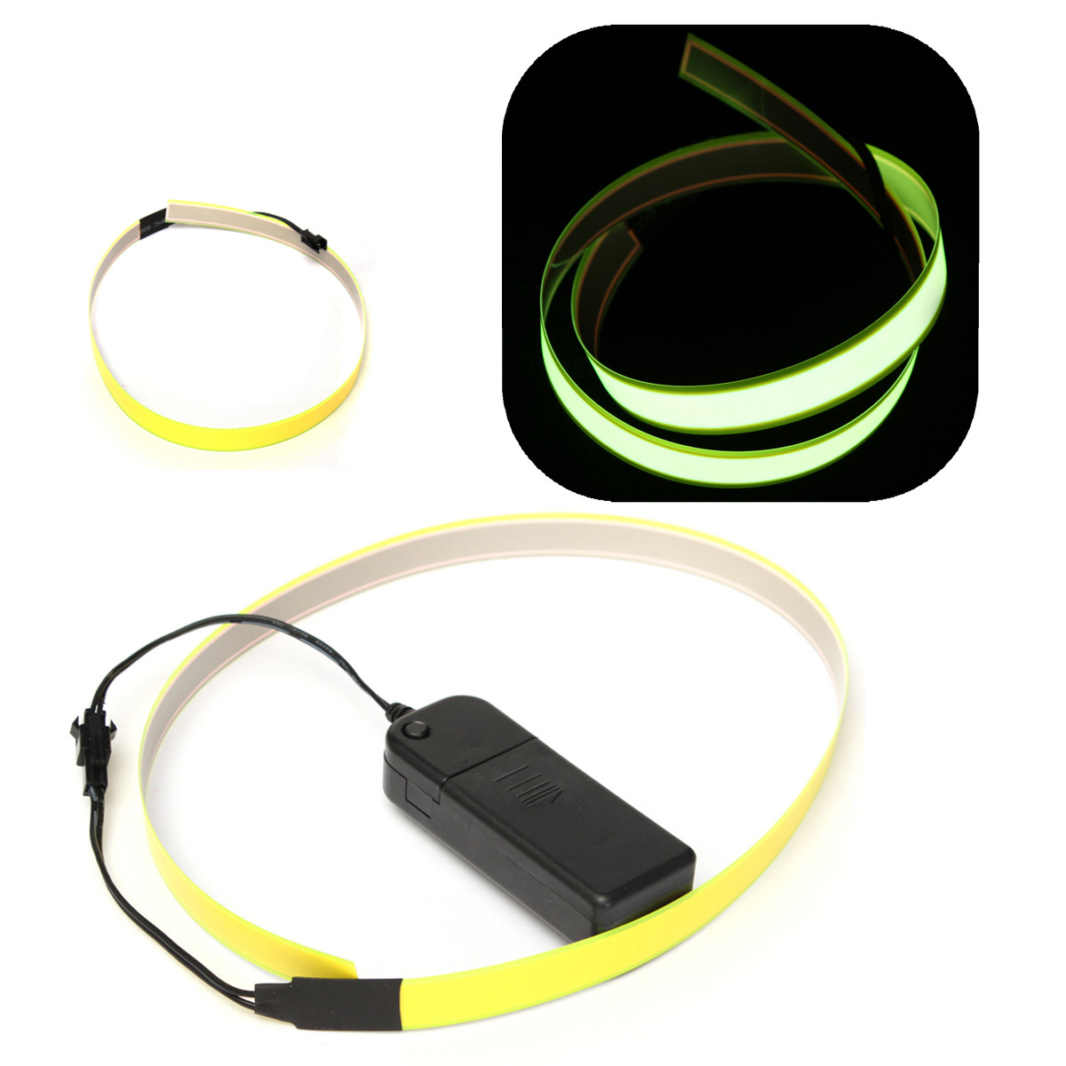 Electroluminescent tape el wire strap glowing w v aa