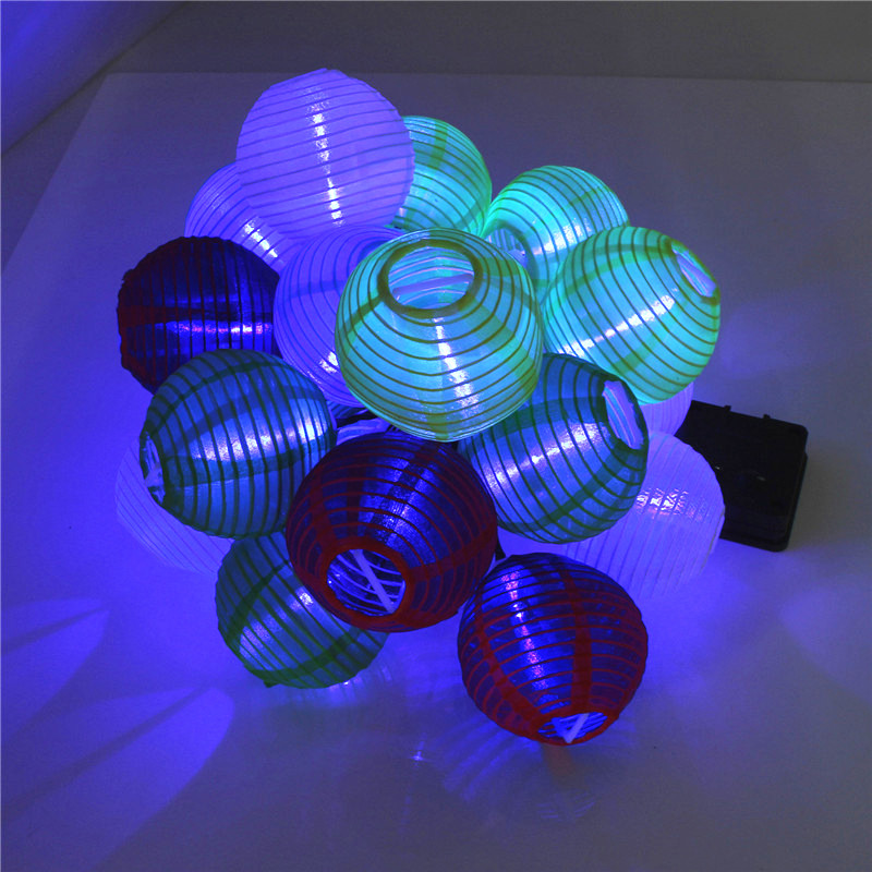 20 led solar lampion lichterkette lampionkette laterne party garten au en ip44 ebay. Black Bedroom Furniture Sets. Home Design Ideas