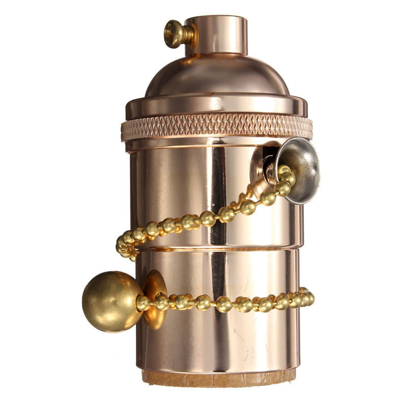 e27 e26 solid brass light socket pull chain on off vintage. Black Bedroom Furniture Sets. Home Design Ideas