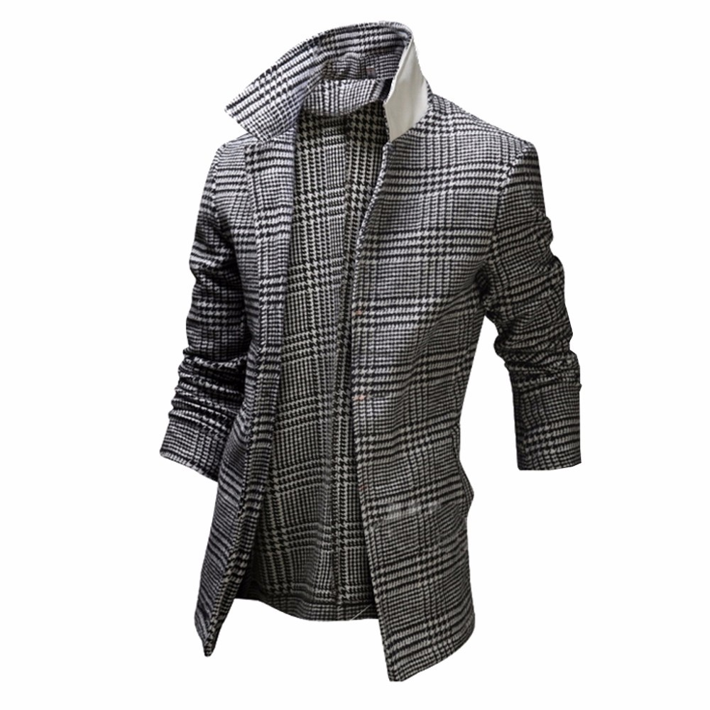 herren winter kariert trenchcoat mantel slim fit wintermantel winterjacke ebay. Black Bedroom Furniture Sets. Home Design Ideas