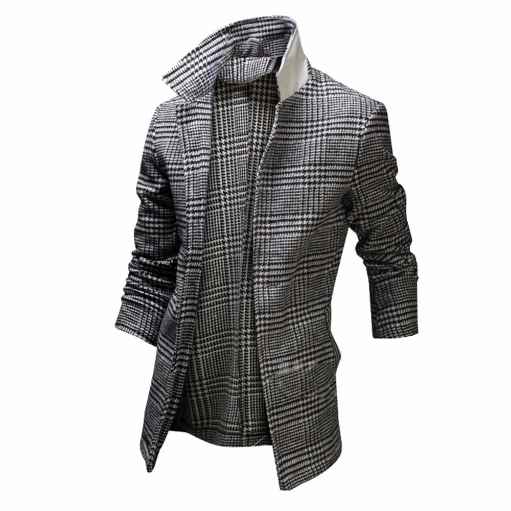 herren winter kariert trenchcoat mantel slim fit. Black Bedroom Furniture Sets. Home Design Ideas