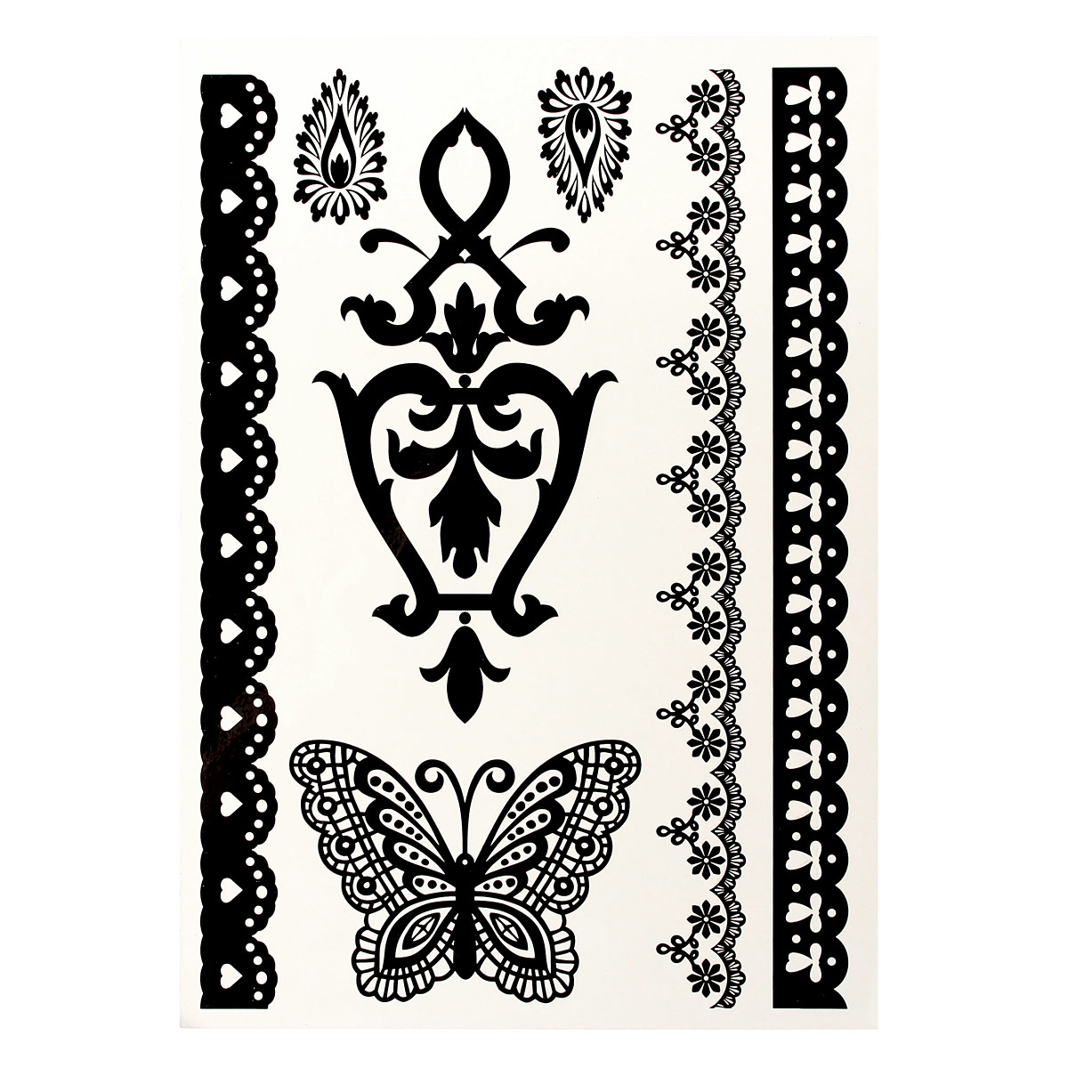 Lace transfer temporary white black henna lace flash for Black temporary tattoo