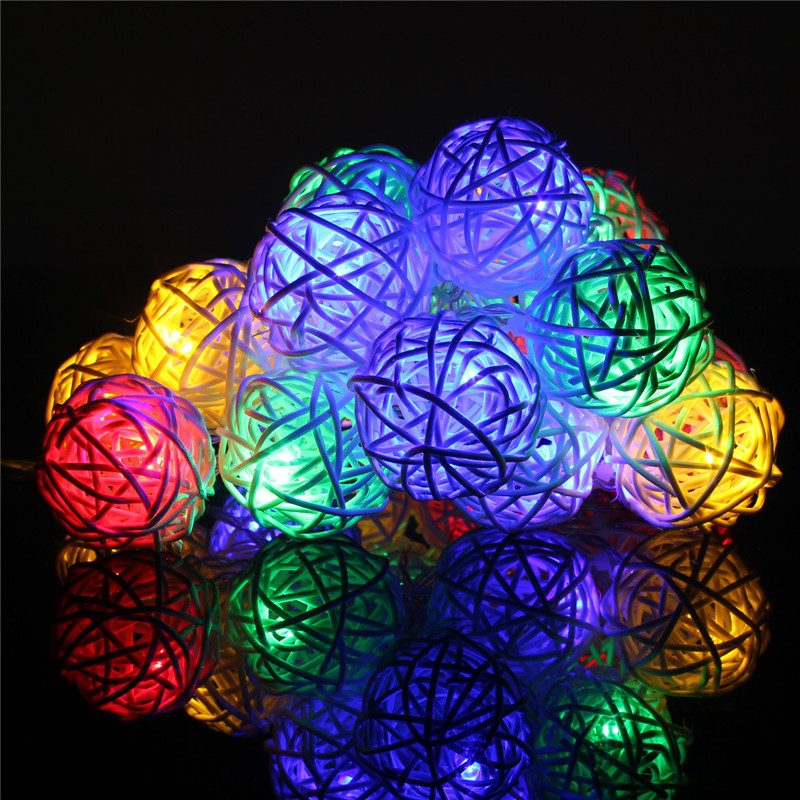20 led lichterkette lichtvorhang party weihnachten rattan kugel au en innen deko ebay. Black Bedroom Furniture Sets. Home Design Ideas