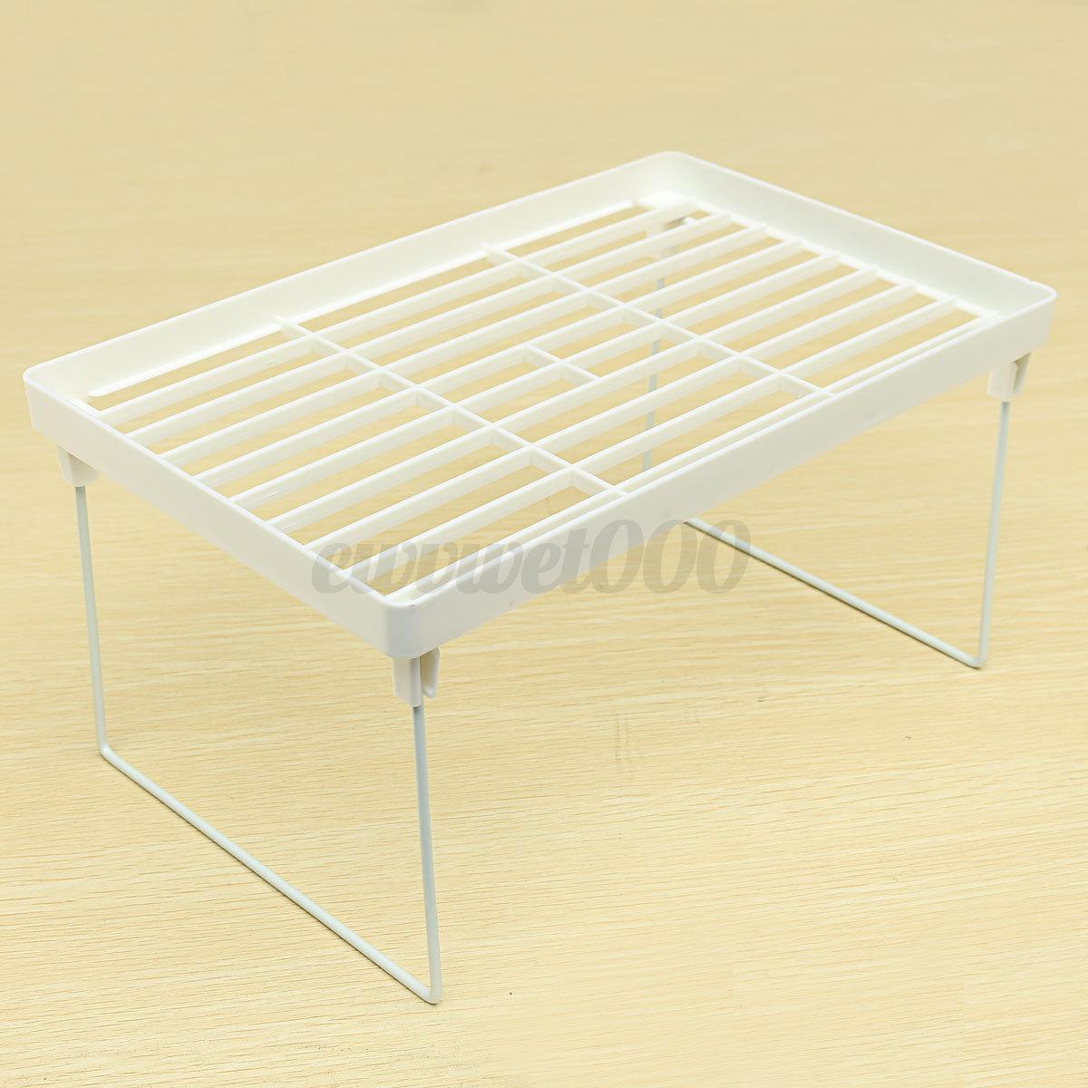 Plastic Kitchen Shelf: Plastic Stackable Storage Rack Shelf Bathroom Kitchen
